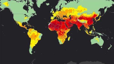 Las zonas más afectadas por la contaminación del aire son aquellas pintadas de rojo. El satélite no distingue materia particulada gruesa y fina, por lo que el rojo sobre África se debe a las tempestades de arena del Sahara. La arena es un tipo de materia particulada gruesa, menos dañina que la fina, que afecta seriamente al corazón y al cerebro.